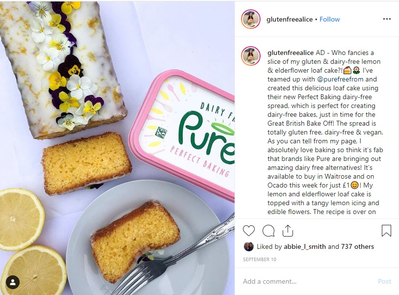 Gluten Free Alice instagram post for Pure